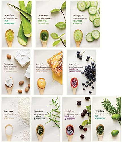 Innisfree  Its Real Squeeze Mask Sheet X 10 Set Bundle With Oil Blotting Paper