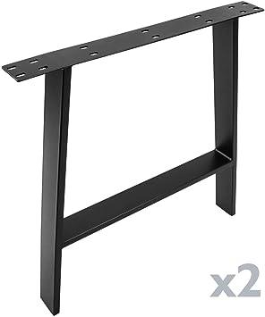 PrimeMatik - Pies rectangulares para Mesa. Patas en Acero Negro ...