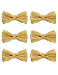 Boys Polka Dots Bow Ties - 6 Pack of Double Layer Adjustable Pre Tied Bowties (Gold)