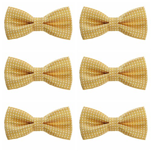 Boys Children Formal Bow Ties - 6 Pack of Solid Color Adjustable Pre Tied Bowties (Golden Yellow Polka Dots)