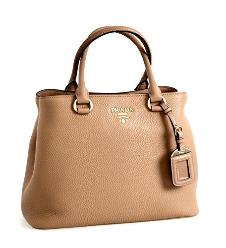 Prada Women's 1BA058 Brown Leather Shoulder - Prada Shoulder Handbag