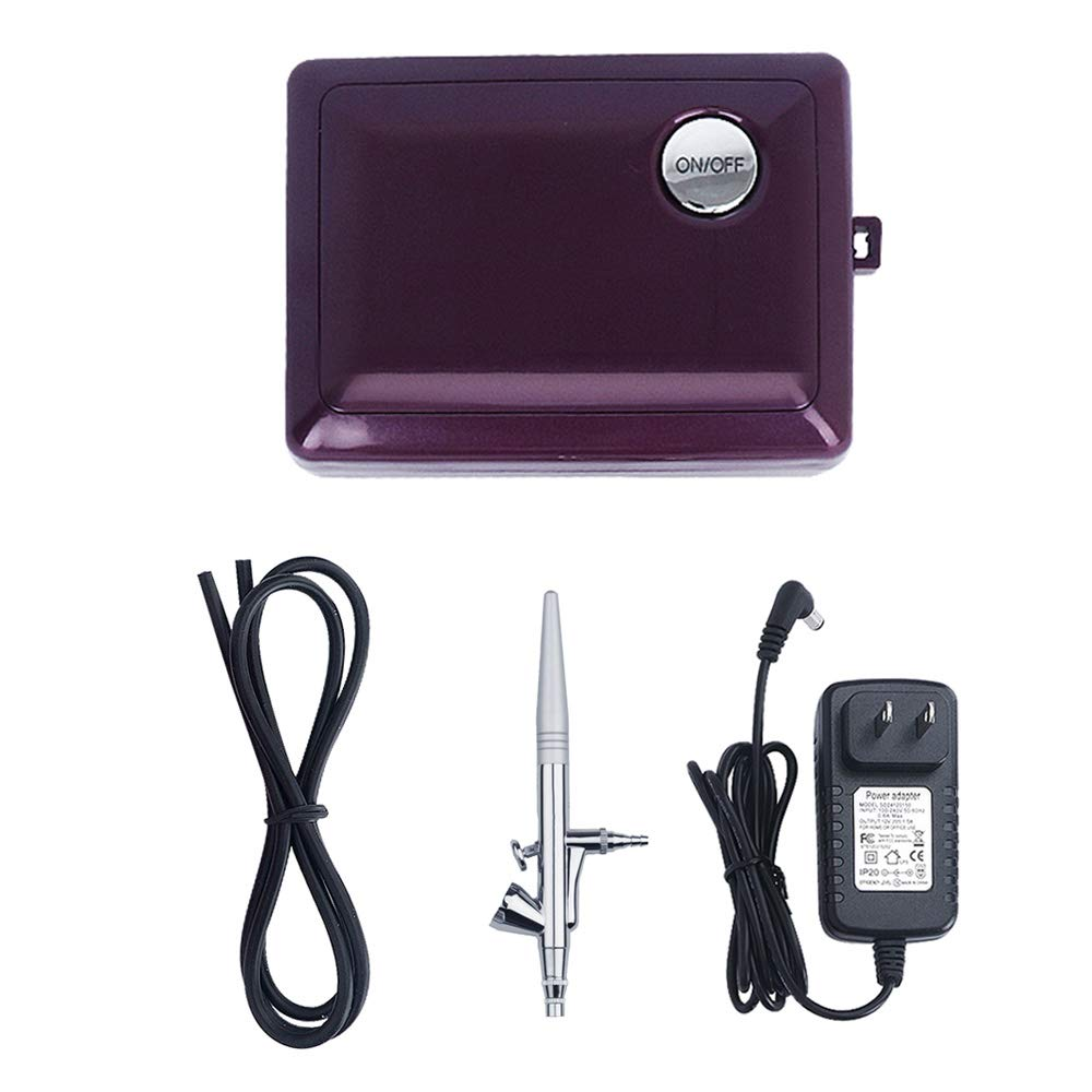Airbrush Makeup Kit, Fy-light Cosmetic Makeup Airbrush and Compressor System for Face, Nail, Temporary Tattoos, Cake Decorating (Purple)
