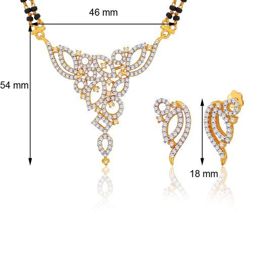 "Silvora 18 Karat Gold Plated Cz ""Garima"" Mangalsutra Earrings Set PM44GJ"