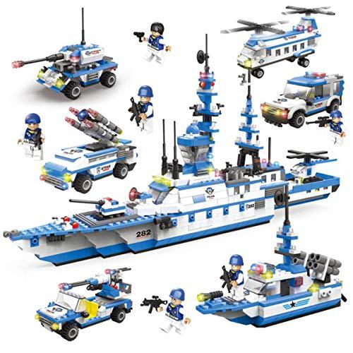 Compatible con LEGO construcción juegos portaAviones militar edificio bloques acorazado modelo de los niños rompecabezas...