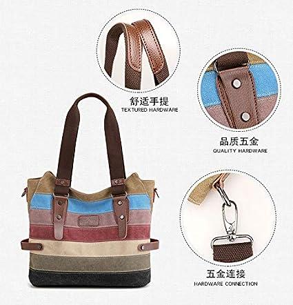 Fashion Stripes Satchel,Brown,36X28X16Cm SJMMBB Womens Bag Canvas Shoulder Bag