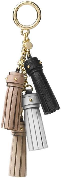MICHAEL KORS Leather Mini Tassel Key Chain in Truffle