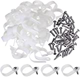 Hicarer 50 Pack R-type Cable Clip Wire Clamp, Nylon Screw Mounting Cord Fastener Clips with 50 Pack Screws for Wire Management