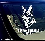 german shepherd window decals - German Shepherd DAD Decal Sticker Car Window Bumper I Love My Dog 5.5