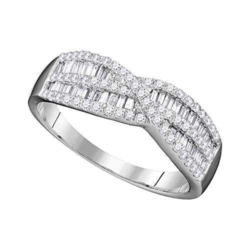 FB Jewels Solid 10k White Gold Womens Round Baguette Diamond Crossover Band Ring 5/8 Cttw - Baguette Diamond Crossover