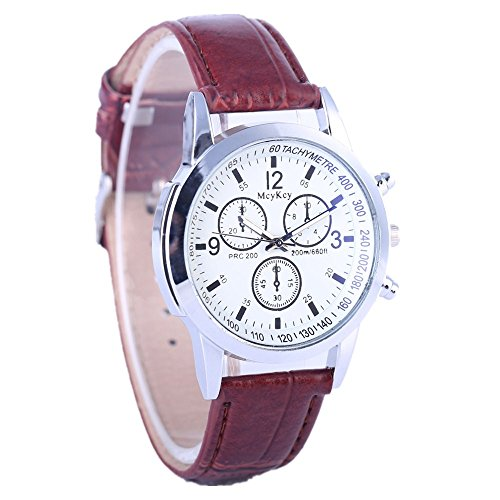 Casual Quartz Leather Band Strap Watch Analog Wrist Watch Blu-ray neutral three eye table (Brown A) ()