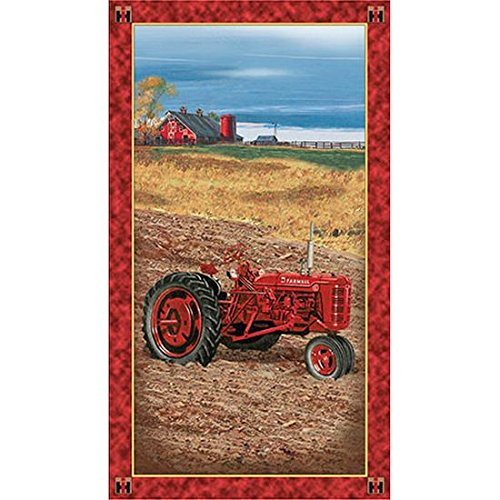 On The Farm Tractor 24in Panel Multi Fabric By The Yard