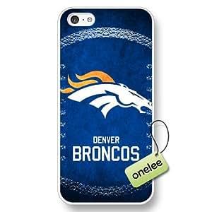 NFL Denver Broncos Team Logo iPhone 5c White Hard Plastic Case Cover - White