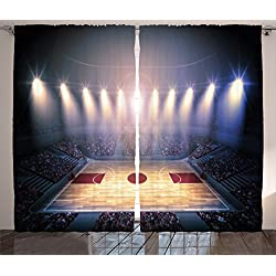 Ambesonne Sports Decor Curtains, Crowded Basketball Arena Just Before The Game Starts School Tournament Theme Image, Living Room Bedroom Decor, 2 Panel Set, 108 W X 84 L Inches, Beige Nacy Brown