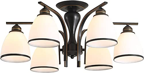 26 Contemporary 6-Light Large Chandelier for Dining Room, Kitchen Black Chandeliers with Glass Shades, Bronze lamp arm 6 12W Bulbs Included Suitable for Dining Room, Bedroom, Living Room