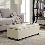 Belleze Modern Elegant Ottoman Storage Bench Living Bedroom Room Home Faux Leather 48″ inch -Cream