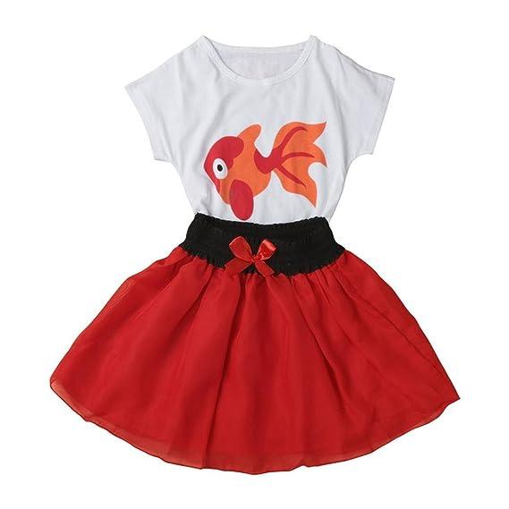 902c997037cf Bekleidung Longra Kleinkind Baby Kinder Mädchen kleine Goldfische Kurzarm T-Shirt  Tops+ Rock Outfit 2PCS