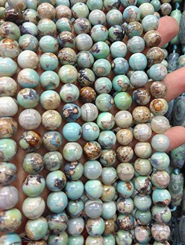 [agate gemstone 2strands 10mm agate stone onyx Crystal green aqua blue Gemstone Round Ball agate Necklace beads] (Aqua Onyx)