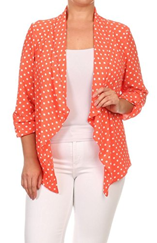 2LUV Plus Women's Open Front Gathered Sleeve Plus Size Blazer – X-Large, Coral