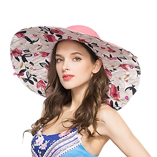 RIONA Women's Foldable Floppy Reversible Wide Brim Sun Beach Hat with Bowknot UPF 50+ (Pink)