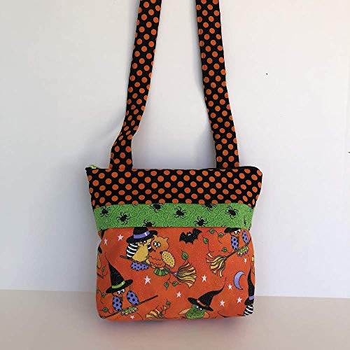 Handmade Halloween Owls in Witch's Hats and Brooms, Hand-crafted Handbag, purse, shoulder bag, girls ()