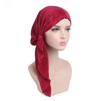 Women Ruffle Headscarf Chemo Hat Turban Head Scarves Pre-Tied Headwear  Bandana For Cancer Burgundy f73c192cd67a