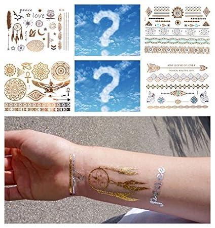 100 Hojas Oro flash Tattoo surtidos Tempo rary Tatuajes räumung ...