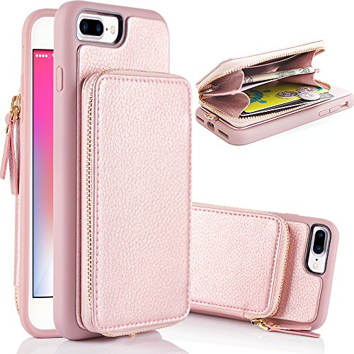 iPhone 8 Plus Wallet Case, iPhone 7 Plus Case, ZVE iPhone 7 Plus / 8 Plus Case with Card Holder Slot Detachable Leather Wallet Case Handbag Cover for Apple iPhone 7 Plus / 8 Plus 5.5''(Rose Gold) by ZVE