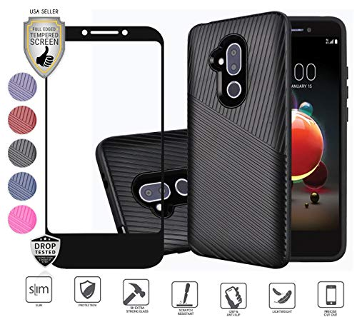 Compatible for Alcatel 7 Case, Revvl 2 Plus Case, with full screen Tempered Screen Protector, Textured lined Hybrid Dual Layer Tough Shockproof Rugged Ultra strong [Drop-Protection] Cover Case (Black)