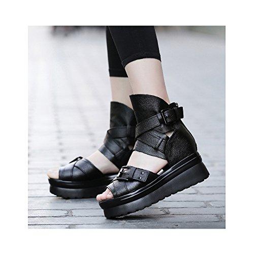 OCHENTA Damen Sandalen Flach aus Leder mit hohen Plattenform-4CM Verschluss durch Schnalle 35-39
