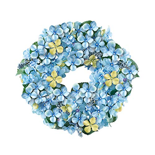 - Collections Etc Blue Hydrangea and Berries Floral Wreath - Spring Décor for Home or Outdoor Accent