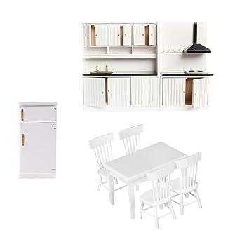 Amazon.es: KESOTO Miniature Wooden Kitchen Furniture Set Nevera ...
