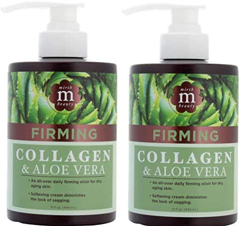 Mirth Beauty Collagen Cream Cream for Face and Body. Collagen Firming Cream with Aloe Vera and Green Tea Extract. Large 15oz jar with pump. (Two - 15oz)