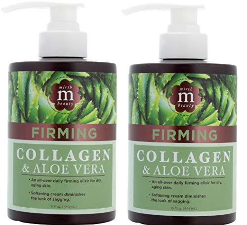 Mirth Beauty Collagen Cream Cream for Face and Body. Collagen Firming Cream with Aloe Vera and Green Tea Extract. Large 15oz jar with pump. (Two - 15oz) Aloe Vera Collagen Cream