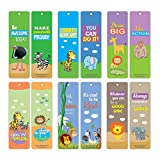 Creanoso Motivational Words Safari Animal Themed Bookmarks (30-Pack) – Encouraging Words Bookmarkers Bulk Set – Premium Quality Book Clippers for Kids, Boys, Girls