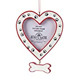 Kurt Adler Pet Heart Picture Frame with Bone Dangle and Paw Prints Ornament