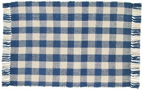IHF Home Decor New Woven Rug Picnic Blue Design 100 Natual Cotton Material 24 Inch x 42 Inch Kitchen Woven Throw Rug