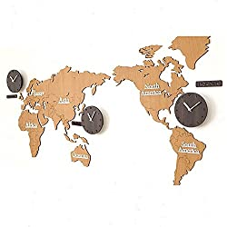 Kairuini DIY Wall Clock Silent Non Ticking Large Mute Wall Stickers for Living Room Bedroom Home Decorations World Time Hanging Frame-less Clocks (Brown)