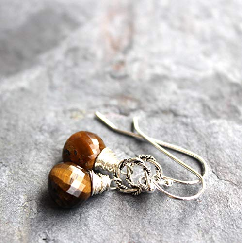 Tigers Eye Earrings Sterling Silver Twisted Rings Wire Wrapped Simple Drops