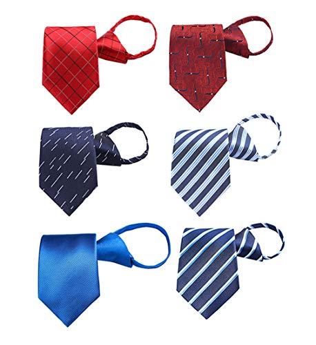 BESMODZ Zipper Tie for Men 6PCS Pretied Adjustable Formal Silk Necktie Mixed Lot