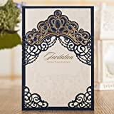 Wishmade Laser Cut Wedding Invitations Cards Navy Blue Square Invitations with Bronzing Crown Sleeve pocket for Engagement Baby Bridal Shower Birthday Quinceanera (Pack of 50pcs)