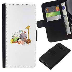 KingStore / Leather Etui en cuir / Samsung Galaxy A3 / Animales Blancos Jirafa Zoo Kids;