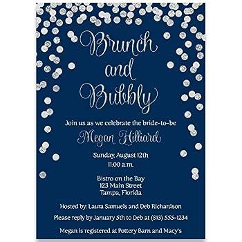 Amazoncom Bridal Shower InvitationsNavy Blue Silver Confetti