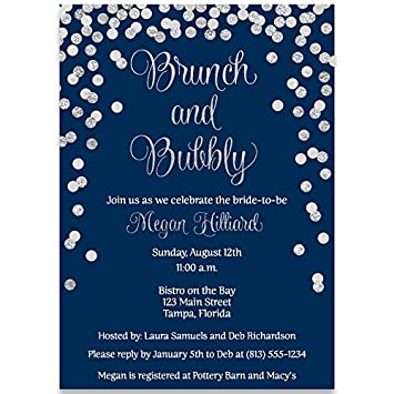 amazon com bridal shower invitations navy blue silver confetti