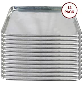 "Tiger Chef Full Size Aluminum Sheet Pan - Commercial Bakery Equipment Cake Pans - NSF Approved 1 Dozen (12, 18"" x 26"" Full Size)"