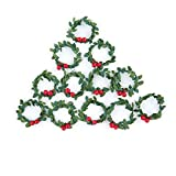 Factory Direct Craft 12 Miniature Artificial Holly Wreaths for Christmas Decor and Crafting