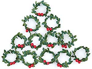 Factory Direct Craft 12 Miniature Artificial Holly Wreaths For Christmas Decor And Crafting Home Kitchen Amazon Com