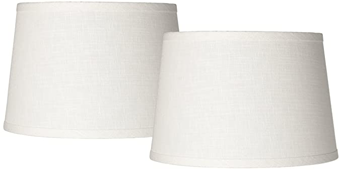 Set of 2 white linen drum lamp shade 10x12x8 spider amazon set of 2 white linen drum lamp shade 10x12x8 spider mozeypictures Image collections