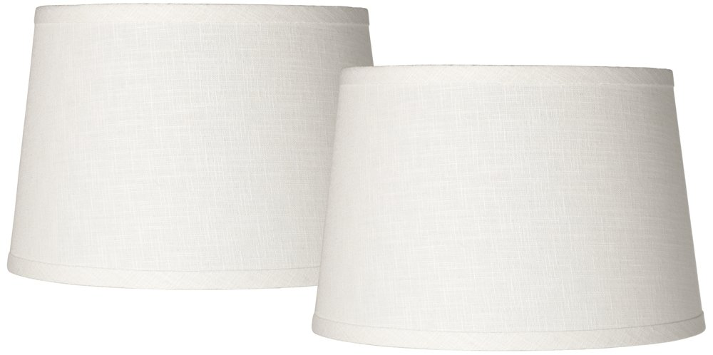 Set of 2 White Linen Drum Lamp Shade 10x12x8 (Spider)