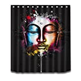 "Colorful Halloween Shower Curtain Polyester Fabric 3D Digital Printing Bath Curtain Liner 60x72"" Bathroom Curtains Milk Meditation Buddha from East Anti Bacterial Waterproof with Plastic Hooks"