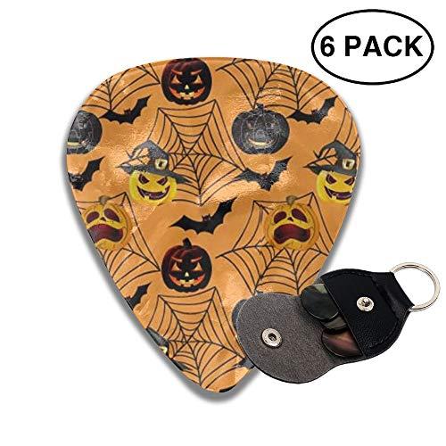 Halloween Pumpkin Pattern Premium Celluloid Guitar Picks Plectrums for Guitar Bass-6 Pack